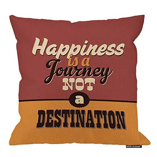 Funda de almohada para póster con cita inspiradora 'Felicidad es a Journey Not A Destination', algodón, lino, poliéster, decoración para el hogar, sofá, escritorio, silla, dormitorio, 45,7 x 45,7 cm