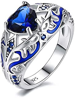 Ring for women silver Filled with blue zircon size 7