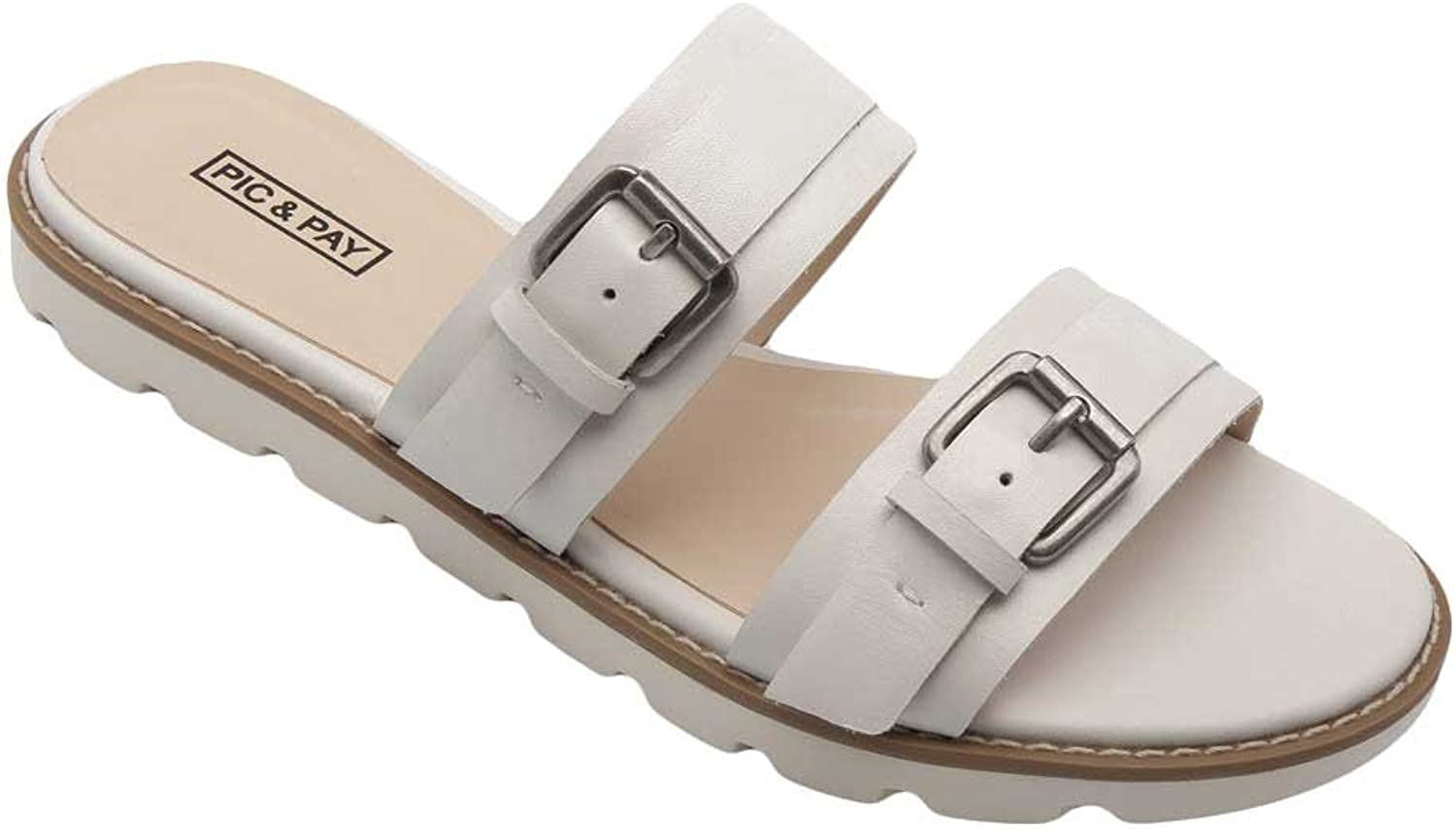 Pic Pay Cairo Women's Sandals - Leather Dual Strap Flat Sandal White Leather 7M