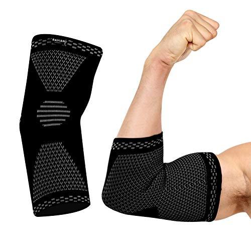 Soporte de codo RAVIAN para codo de tenista, epicondilitis de coderas, epicondilitis de coderas, levantamiento de pesas, artritis, entrenamiento - Soporte de codo para hombres y mujeres