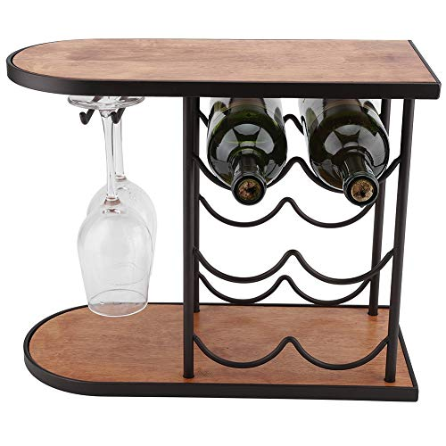 Wine Glass Rack 6 Bottles Red Wine Rack Red Wine Holder Shelf Stand Bottle Holder Stand With Glass Cups Hanger For Bar Kitchen