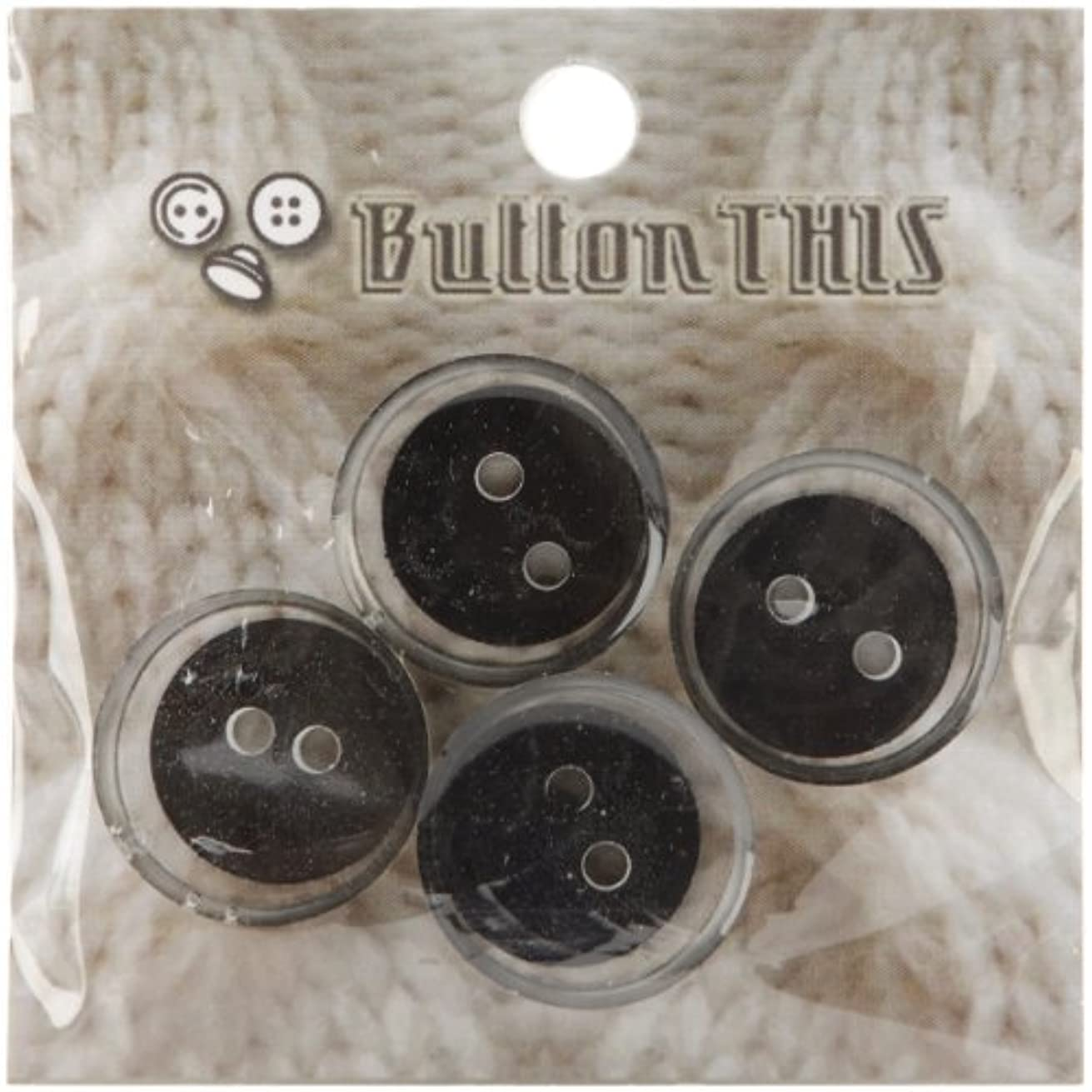 ButtonTHIS Solid Color Buttons, 1-Inch, Black, 4-Pack