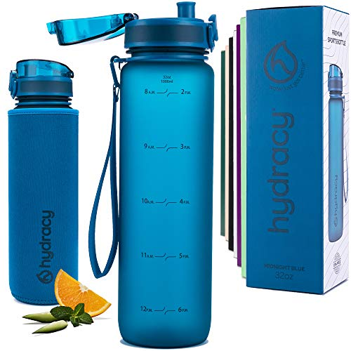 Hydracy Water Bottle with Time Marker - Large 1 Liter BPA Free Water Bottle - Leak Proof & No Sweat Gym Bottle with Fruit Infuser Strainer for Fitness or Sport & Outdoors - Midnight Blue
