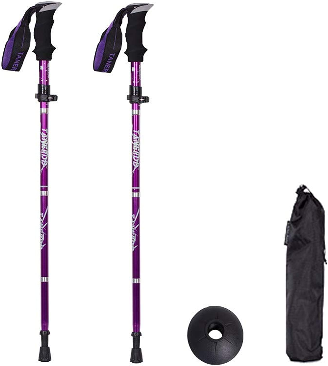 Hiking Poles Trekking Pole 2 Packs of Height Adjustable Crutches Folding Trekking Poles Portable Straight Handle Crutches Ultralight Hiking Camping Backpack Walking