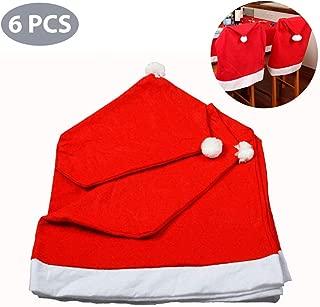 Santa Hut Stuhl Bezüge, Rote Hut Stuhl Rückseiten Abdeckungen Küchen Stuhl Abdeckungen Stellt für Weihnachtsfeiertags Festlichen Dekor, Xmas Weihnachten Party Decor, 6PC