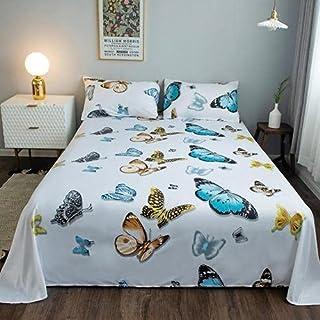 DEALS FOR LESS - 3 Pieces bedsheet set, Blue Butterfly design white color