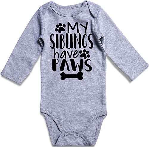 UNIFACO Infant Baby Onesie Bodysuit My Siblings Have Paws Funny Baby Layette Set for Gift 0-3 Months