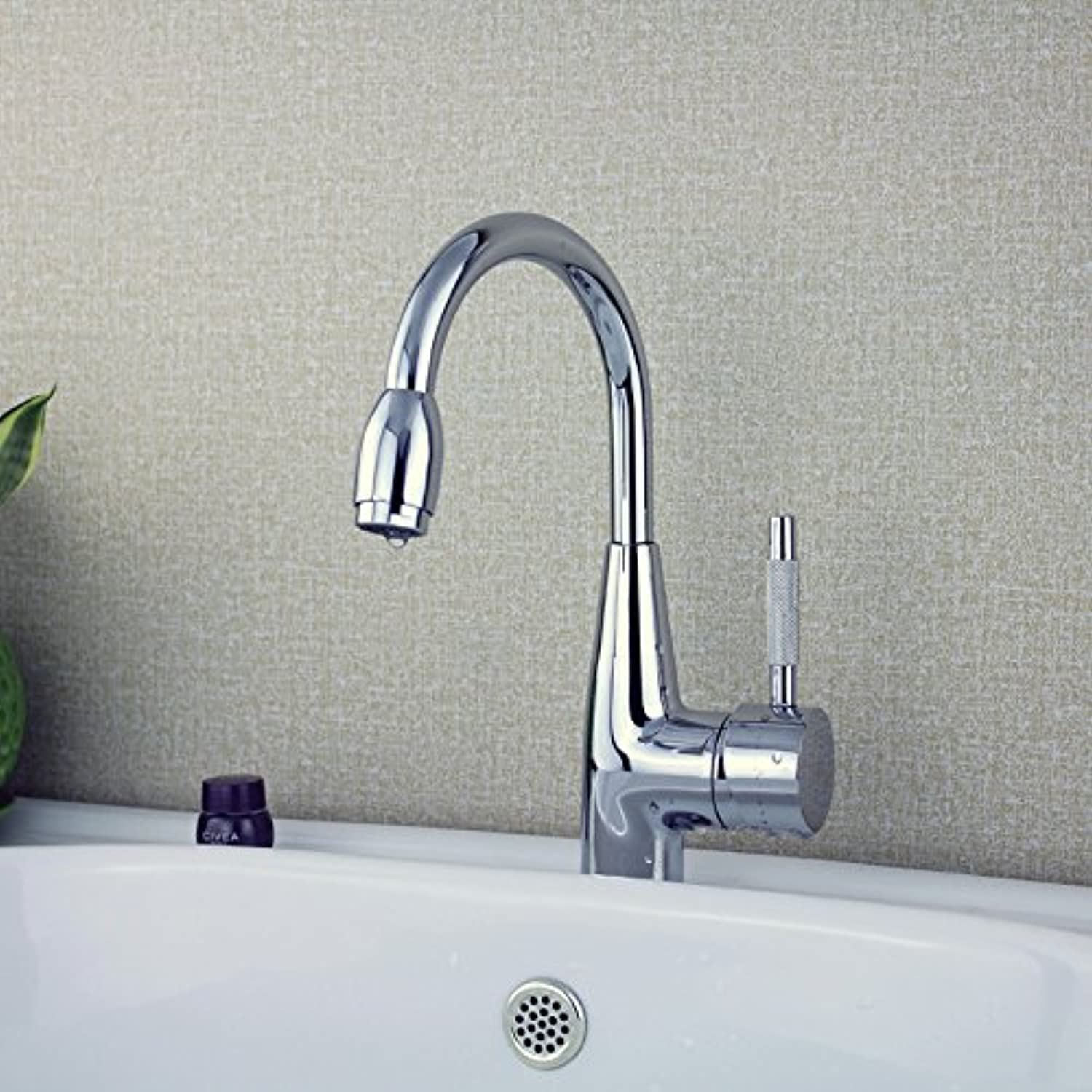 Moecd Face Basin Faucet Cold And Hot Single Hole Full Copper Body 360 Degree redating Platform On The Basin Faucet