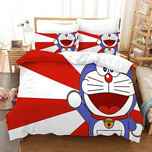 POPCC Doraemon: Doraemon 1008 Bedding Sets, Duvet Cover Sets, for Otaku and Anime Fan's Room 3Pcs 1 Quilt Cover & 2 PillowcasesEU Double(200x200cm)