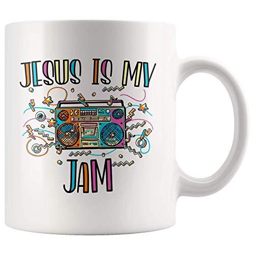 N\A Taza de Jesús es mi Mermelada para Cristiano, Regalo de Taza de café para Amantes de Jesús, Estilo Vintage 70S, Taza de té de 11 onzas