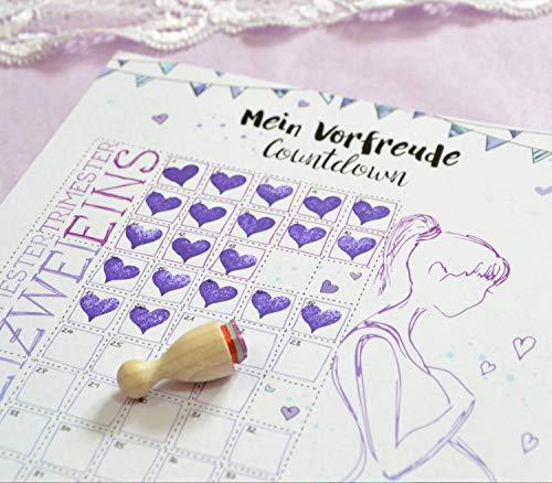 Schwangerschaft Countdown Kalender zum Abstempeln, Geschenk A5 mit Herzstempel Baby-Countdown Wochen