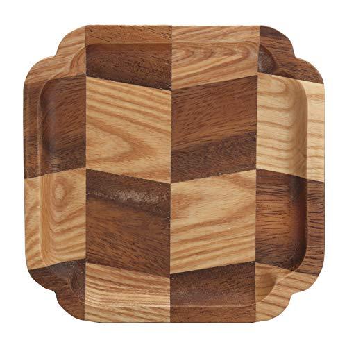 Holz Tablett Osmanische Tabletts, Schüssel Schüssel Obstteller Pfanne Tee Tablett Holz(15 * 15 black walnut + ash wood olecranon plate)