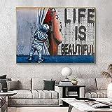 MYBHGRFDG Decoración de Lienzo Abstracta Moderna La Vida es Hermosa Cortina de niño Revelar Arte Callejero Pintura al óleo Graffiti Original Estilo Banksy Pared | 60x80cm Sin Marco