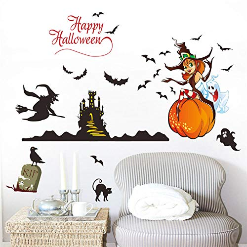 JIAPAI Funny Halloween Pumpkin Black Cat Witch Bats Ghost Wall Stickers for Shop Home Mural Happy Festival Kids Room Wal Art Decals