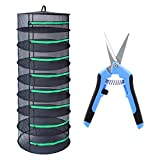 G-LEAF Drying Rack Net Dryer 2ft 8 Layer Black W/Green Zippers Collapsible Mesh Hydroponics