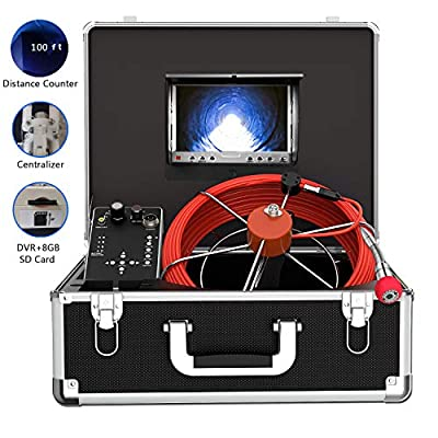 Pipe Inspection Camera, Drain Sewer Camera IP68 Waterproof Industrial Pipeline Endoscope with Distance Counter 30M/100FT Cable Video Inspection Scope with 7 Inch TFT LCD Color Monitor (30M-DVR)