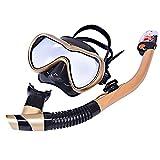 LBAFS Scuba Snorkel Set Full-Dry Scuba Diving Mask para Adultos Easy Breathe Anti-Niebla Anti-Leak Snorkeling Gear Gafas,Gold
