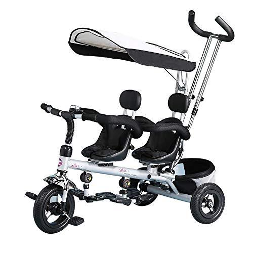 HYDDG Kindertrike, Dreiradtrike, Doppel-4-in-1-Kindertrike mit Korb, Abnehmbarer Lenker, 3-Rad-Fahrrad für Kleinkinder, Doppelsitz