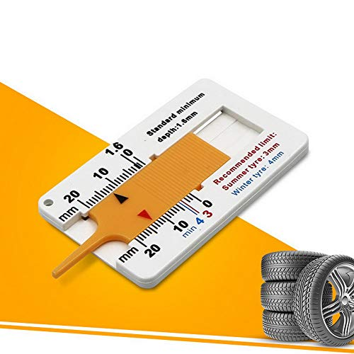 JuneJour Profiltiefenmesser Reifenprofilmesser Profilmesser Tiefenmesser Messchieber Werkzeug für Auto Motorrad Profiltiefenmesser Reifen Maßstab Motorrad Measure Tool 0–20 mm
