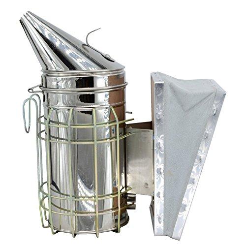 SYAYA Abeja de acero inoxidable ahumador con escudo térmico equipo de apicultura equipo (Color uno)
