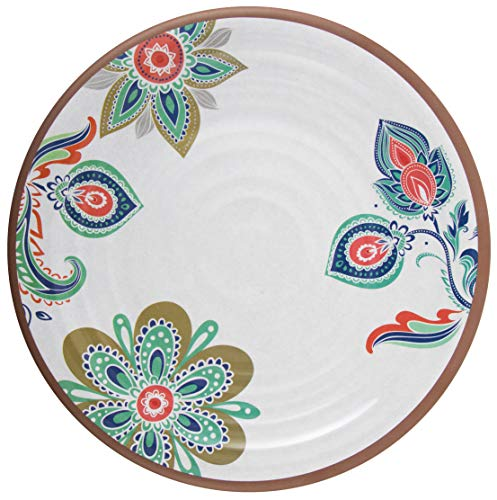 Melange 6-Piece 100% Melamine Salad Plate Set (Flowers in Clay) | Shatter-Proof and Chip-Resistant Melamine Salad Plates