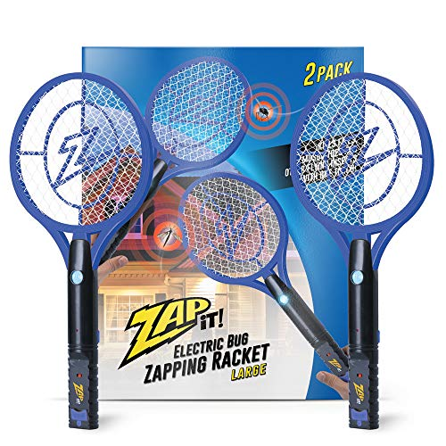 ZAP IT! Bug Zapper Twin-Pack Rechargeable Mosquito, Fly Killer and Bug Zapper Racket - 4,000 Volt - USB Charging, Super-Bright LED Light to Zap in The Dark - Safe to Touch (Large, Blue)