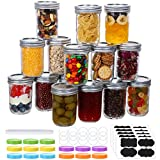 15 Pcs Mason Jars 8 Oz, Regular Mouth Canning Jars with Airtight Lids and Bands, Colored Plastic Lids, Blank Labels, Chalk Marker, Leak-Proof Lids for Food Storage, Canning, Favors, Decorating Jar
