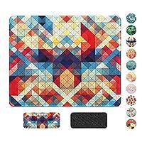 ステッチエッジ付きマウスパッド、プレミアムテクスチャマウスマットパッド、ラップトップ用ノンスリップラバーベースマウスパッド、コンピュータおよびPC、オフィスデスクアクセサリー10.2×8.3インチ(カラフルな三角形)