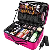 joyroom Large Makeup Bag 3 Layers Professional Train Cosmetic Bag Makeup Organizer Case 15.7 inches Portable Artist Storage Brush Box with Adjustable Dividers and Strap for Makeup Accessories Rose Red