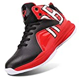 WETIKE Boys Basketball Shoes Lace Up High Top Sneaker Outdoor Trainers for Unisex Kids Durable Sport Shoes (Little Kid/Big Kid) Cool Red,5M US Big Child