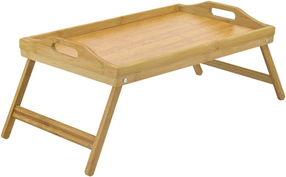Multifunction Natural Bamboo Breakfast Bed Table Serving Tray La