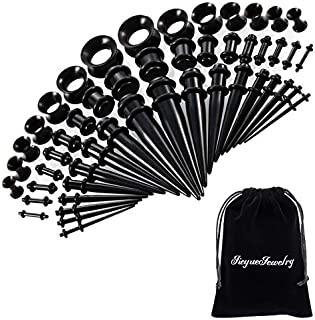 50 Pieces Ear Stretching Kit 14G-00G by JieyueJewelry - Acrylic Tapers and Plugs + Silicone Tunnels - Ear Gauges Expander Set Body Piercing Jewelry