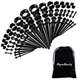 50 Pieces Ear Stretching Kit 14G-00G by Jiquan - Acrylic Tapers and Plugs + Silicone Tunnels - Ear Gauges Expander Set Body Jewelry (Black)