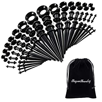 50 Pieces Ear Stretching Kit 14G-00G by JieyueJewelry - Acrylic Tapers and Plugs + Silicone Tunnels - Ear Gauges Expander Set Body Jewelry  Black