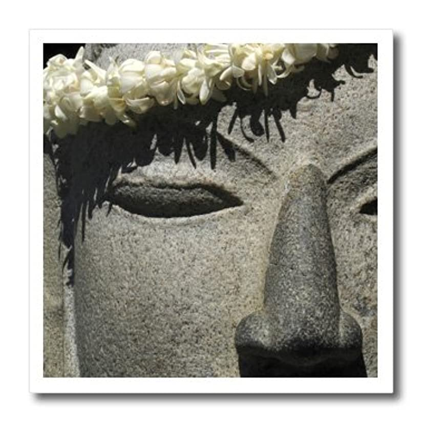 3dRose ht_89505_3 Hawaii, Kona. Lei on Stone Statue of Buddha - Jaynes Gallery - Iron on Heat Transfer for White Material, 10 by 10-Inch