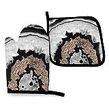 Guantes de Cocina y Juego de Mantel Individual Ágata gris negro blanco con brillo doradocon Silicona Antideslizantes para Cocinar, Asar(Juego de 2 piezas)