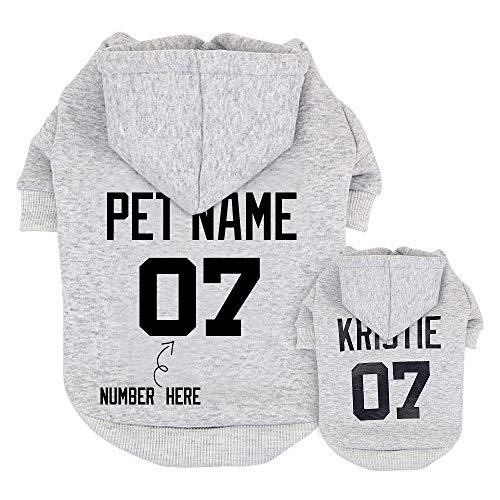 Didog Hunde-Kapuzenpullover, mit Namen und Nummer, Kleidung mit Namen für Welpen, Pudel, Yorkie, kleine und mittelgroße Hunde, personalisierbar