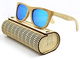 TT WARE Unisex Handmade Bamboo Legs Polarized Sunglasses Outdoor UV Protaction Colorful Lens Eyewear Glasses-Blue