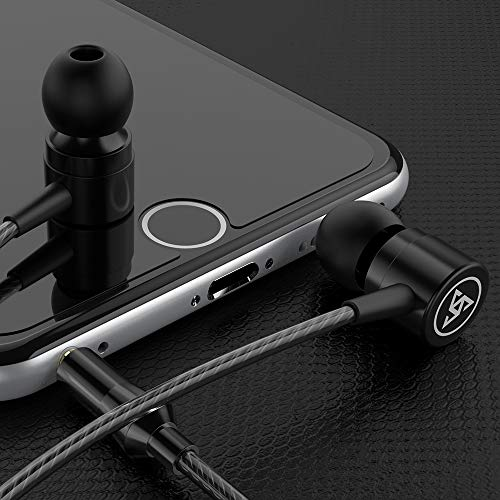 Professional Metal Headphone in Ear Wired Earphone Heavy Bass Sound Quality Music Sport Headset Headsets with Built-in Microphone 3.5mm in-Ear Wired Earphone (BK) 4