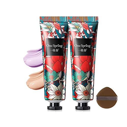 Prebase Facial Impecable, Base de Maquillaje en Crema, Invisible Pore Makeup Base Primer, Piel Suave, Corrector de Esencia Hidratante Para Iluminar el Tono de La Piel con Esponja de Maquillaje (02)