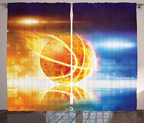 Ambesonne Basketball Curtains, Abstract Sports...