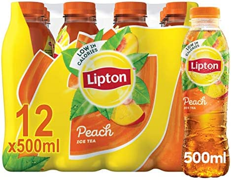 Lipton Ice Tea Peach Still Soft Drink 500ml, (Pack of 12)