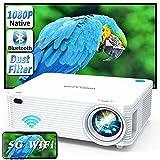 WISELAZER Proyector Full HD WiFi Bluetooth 1080P Nativo,Cine en Casa 9500 Lúmenes Proyector Soporte 4K Función de Zoom para Smartphone,Pc,TV Stick,etc.