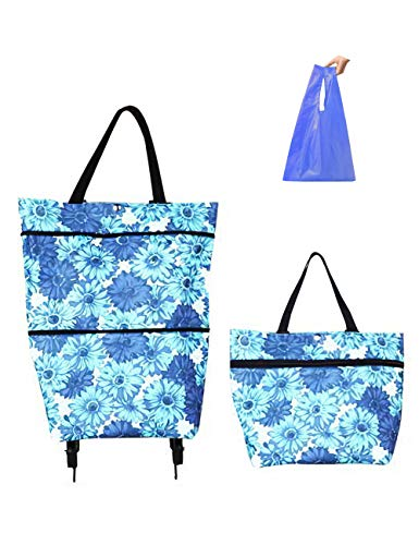 Collapsible Trolley Bags Folding Shopping Bag with Wheels Reusable Grocery Bags Fashion Rolling Shopper Tote - lightweight Capability with Durability, Heavy Duty Beefy Wheels (Blue)