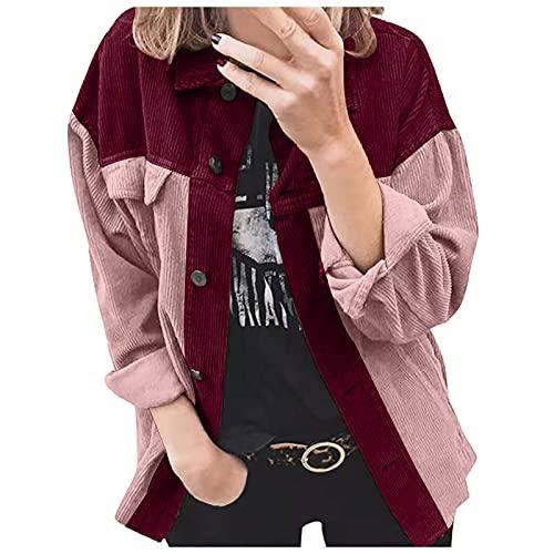 NHNKB Chaqueta de invierno para mujer, de pana con solapa, de un solo color, manga larga, con botones, para el tiempo libre, para primavera y otoño, rojo, S