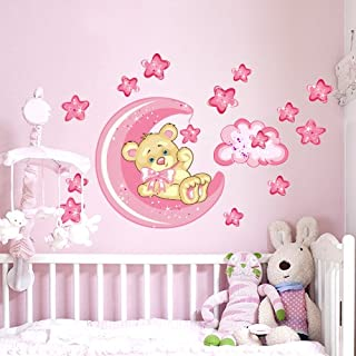 Wall Art R00317 Sticker Mural Pour Enfant Motif : Ourson Et Lune, Bonne  Nuit 60