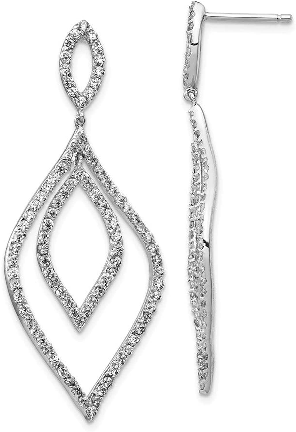 Beautiful Sterling silver 925 sterling Cheryl M Sterling Silver Rhodium Plated CZ Flames Dangle Post Earrings