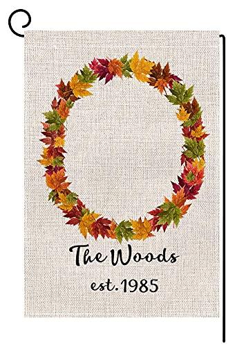 Personalizado hoja de arce 'M' monograma pequeño jardín bandera vertical doble cara 30 x 45 cm apellido personalizado otoño arpillera patio decoración al aire libre casacalentamiento regalo boda