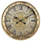Yosemite Home Decor Off-White and Black 23-Inch Round Gear Clock
