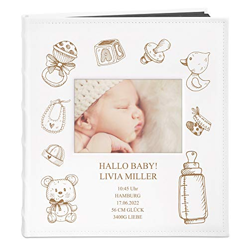 Murrano Fotoalbum zum Selbstgestalten mit Bildausschnitt + mit Gravur - für 240 Fotos 10x15-60 Seiten - Größe 33x30cm - Weiß - Geschenk für Kind zur Geburt Taufe Kommunion zum Geburtstag - Hallo Baby